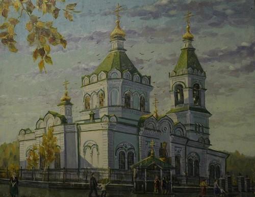 Картина Леонарда Щербакова Введенская церковь поселка Верхние Серги